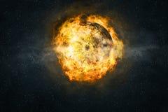 Planète brûlant en flammes Image stock