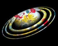 Planète colorée et orbites sur le fond noir Photos stock
