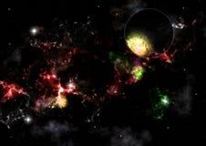 Planète contre un ciel étoilé et des groupes de galaxies illustration stock