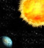Planète criquée éclairée par le soleil et le x28 ; 3D Illustration& x29 ; Photos libres de droits