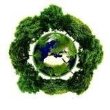 Planète d'écologie avec avec des arbres autour La terre d'Eco Image libre de droits