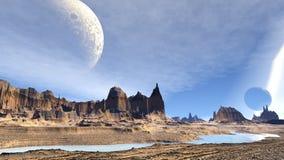 Planète d'étranger d'imagination Roches et lac illustration 3D illustration libre de droits