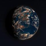 planète 3D dans l'espace avec de vraies étoiles illustration de vecteur