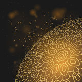 Planète d'or de mandala pendant la nuit Photo stock