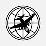 Planète d'icône et avion, vols autour du monde Image stock