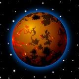 Planète dans l'espace avec les étoiles, la bande dessinée brillante ou le style de jeu illustration de vecteur