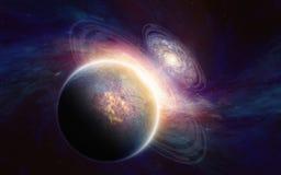 Planète dans l'espace lointain Photos stock