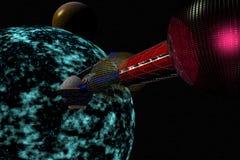 Planète de approche de vaisseau spatial Illustration Stock