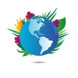 Planète de la terre avec des fleurs sur le fond blanc Jour de terre Vecteur illustration libre de droits