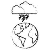 planète de la terre de silhouette avec l'icône de rayon de nuage Photo stock