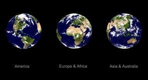 Planète de la terre, trois angles Photo stock