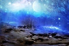 Planète de lune bleue Images libres de droits