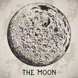 Planète de pleine lune avec les cratères lunaires sur le fond grunge illustration stock