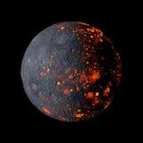 Planète de système de Mercury Solar sur le rendu noir du fond 3d Images stock