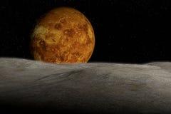 Planète et étoiles inconnues dans l'espace extra-atmosphérique Illustration Stock