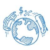 Planète et icône de croquis d'affaires de transport Photos libres de droits