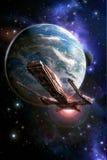 Planète et lune de vaisseau spatial illustration stock