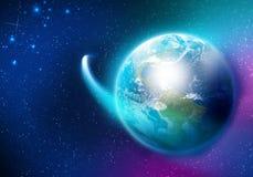 Planète et satellite Photos stock