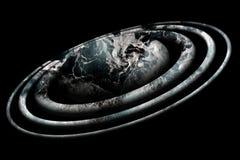 Planète foncée argentée Orbites d'étoile sur le fond noir Photo stock