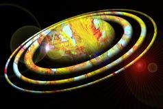 Planète, galaxie et lumières dans l'obscurité, image de galaxie photographie stock