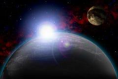 Planète inconnue Colorez l'étoile, le soleil, lune, étoiles, nébuleuse de l'espace Base : phototextures du ` s d'auteur Photos stock