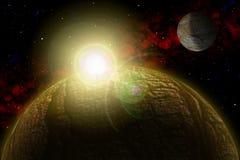 Planète inconnue Colorez l'étoile, le soleil, lune, étoiles, nébuleuse de l'espace Base : phototextures du ` s d'auteur Images libres de droits