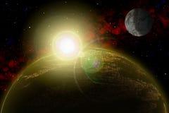 Planète inconnue Colorez l'étoile, le soleil, lune, étoiles, nébuleuse de l'espace Base : phototextures du ` s d'auteur Images stock