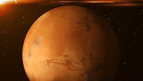 Planète Mars dans l'espace Fond abstrait du rendu 3D Images libres de droits