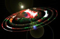 Planète, orbites rouges, lumières, ciel, image d'étoile, terre, conception de galaxie et fond photographie stock libre de droits