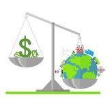 Planète propre d'Eco plus que l'argent Photographie stock