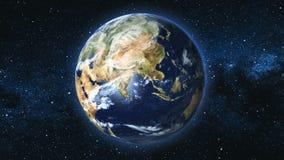 Planète réaliste de la terre contre le le ciel d'étoile Photos stock