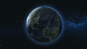 Planète réaliste de la terre contre le le ciel d'étoile Image stock
