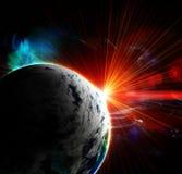Planète rouge avec une bavure du soleil illustration stock