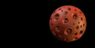 planète rouge de système de son du haut-parleur 3d au-dessus de noir Photos libres de droits
