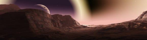 Planète rouge, paysage panoramique de Mars illustration de vecteur