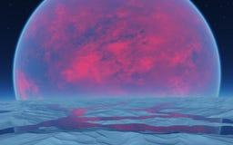 Planète rouge sur l'horizon Images libres de droits