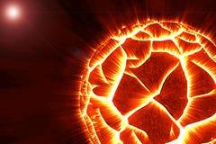 Planète rougeoyante de explosion dans la galaxie illustration libre de droits