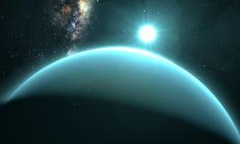 Planète Uranus avec le lever de soleil Photos libres de droits