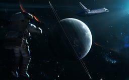 Planète Uranus dans la lumière bleue Système solaire Art de la science-fiction Des éléments de l'image ont été fournis par la NAS photographie stock libre de droits