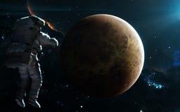 Planète Vénus dans la lumière bleue Système solaire Art de la science-fiction Des éléments de l'image ont été fournis par la NASA photos stock