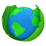 Planète verte dans des lames vertes d'isolement sur le dos de blanc Image libre de droits