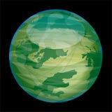 Planète verte et brillante extraterrestre d'isolement sur le noir illustration de vecteur