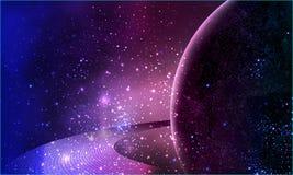 Planète violette dans l'espace avec des anneaux de Saturn Photographie stock libre de droits