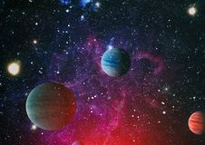 Planètes, étoiles et galaxies dans l'espace extra-atmosphérique montrant la beauté de l'exploration d'espace Éléments meublés par Photo stock