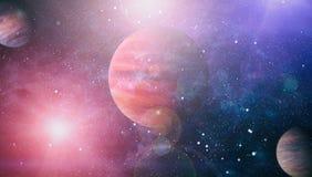 Planètes, étoiles et galaxies dans l'espace extra-atmosphérique montrant la beauté de l'exploration d'espace Éléments meublés par Photographie stock libre de droits