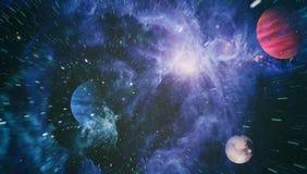 Planètes, étoiles et galaxies dans l'espace extra-atmosphérique montrant la beauté de l'exploration d'espace Éléments meublés par Images stock