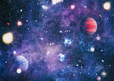 Planètes, étoiles et galaxies dans l'espace extra-atmosphérique montrant la beauté de l'exploration d'espace Éléments meublés par illustration de vecteur