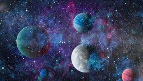 Planètes, étoiles et galaxies dans l'espace extra-atmosphérique montrant la beauté de l'exploration d'espace Éléments meublés par illustration stock