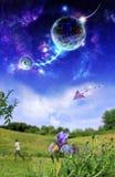 Planètes au-dessus de la terre image libre de droits