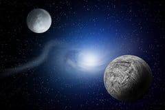 Planètes au-dessus des nébuleuses dans l'espace Images stock